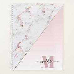 Girly Rose Gold Glitter Marble Monogram Planner
