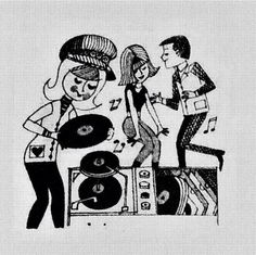 Dance party with records. http://www.pinterest.com/TheHitman14/phonograph-kitsch/