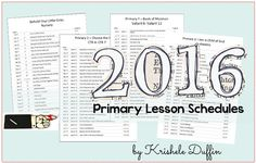 2016 LDS Primary Lesson Schedules