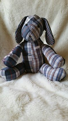 Memory dog made from favourite shorts to remember a customer's father who always had a notebook in his top pocket.