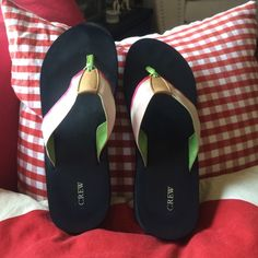 J Crew pink, green & white flip flops J Crew pink, green & who flip flops. Gently worn. J. Crew Shoes