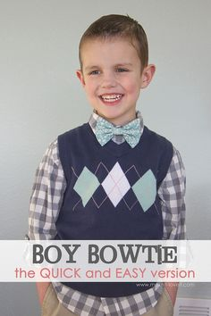 Little Boy Bowtie: the QUICK and EASY version --- Make It and Love It - I used this tutorial to make my dog a bowtie for our Kentucky Derby Party this week