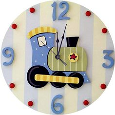 This charming wooden wall clock is a must have for any childs room. This clock adds a touch of style, while being fun and functional! Sweeping hands are silent (no ticking sound.) This clock is part o Wood Block Crafts, Wood Crafts, Diy And Crafts, Clock Art, Diy Clock, Cute Clock, Clock For Kids, Kids Clocks, Wood Clocks