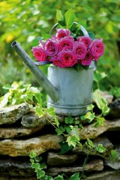 My inner landscape / rustic country charm / watering can with flowers Pink Garden, Dream Garden, Garden Roses, Rustic Landscaping, Colorful Roses, Deco Floral, Rose Cottage, My Secret Garden, Garden Inspiration