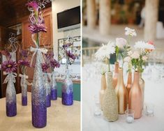 Vases of bottles with their own hands - 29 photos with ideas for creativity - Glass and plastic bottles have a wide variety of shapes and sizes, which makes them an excellent material for making vases. Diy Home Decor On A Budget, Decorating On A Budget, Diy Home Improvement, Dollar Stores, Decor Styles, Table Decorations, Creative, Vases, Bottles