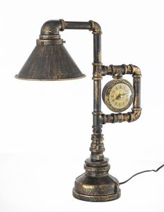"""Antique reproduction Lamp Industrial Pipe Steampunk Table Lamp with Clock H 18"""" W 14"""". Please note, when you purchase an item from the Gallery you can be assured of the """"Gallery 4 Points of Confidence..."""