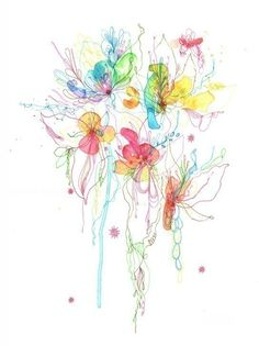 By Siiso. Blossoms Series 37 -- watercolor mixed media drawing. GORGEOUS.