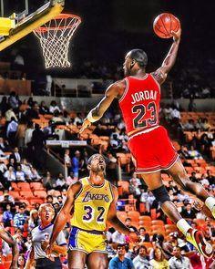 Michael Jordan dunking over Magic Johnson