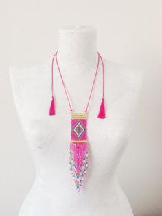 Loom Beaded Necklace, Boho Necklace, Statement Necklace, Tribal Necklace, Pink Necklace, Fringe Necklace, Tassel Necklace, Boho Jewelry