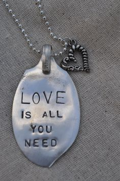 Stamped Spoon Necklace  Love Is All You Need by grassybranchfarm, $18.00