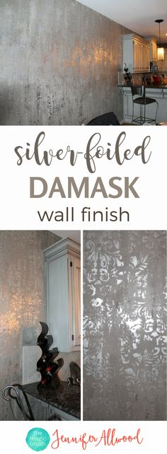 Learn to paint a luxurious silver foiled damask wall finish! It makes for a gorgeous shiny feature wall in a master bathroom or bedroom . Accent Wall Ideas + Painted Focal Wall + Master Bathroom Paint Ideas + Painting Tips & Tutorials by Jennifer Allwood of themagicbrushinc.com