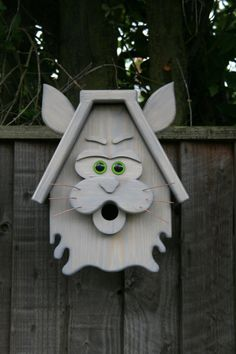 Handcrafted Wooden Bird Box of a CAT by Amazeofwood on Etsy
