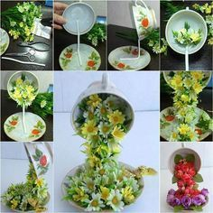 """Here is a nice DIY tutorial on how to make a topiary flower flying cup decor. It looks so beautiful and unique, with the cute coffee cup """"flying"""" or """"floating"""" in the air and pouring flowers in the saucer. Making this with your own hands is quite simple. Basically, just glue the wire to the cup and saucer and cover with flowers. Try adjusting the position of the cup to maintain stability. You may add a butterfly or other ornaments to make it more vivid. It makes a nice and unique home decor."""