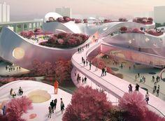 MVRDV presents pink-tinged proposal for taoyuan museum of art in taiwan
