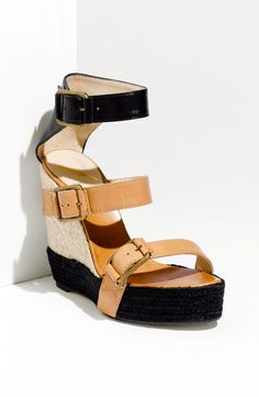 B Brian Atwood Delice Sandal in Black (black/ natural) | Lyst