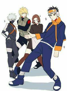 obito x naruto Naruto Shippuden Sasuke, Naruto Kakashi, Naruto Comic, Anime Naruto, Naruto Teams, Naruto Fan Art, Naruto Cute, Haikyuu Anime, Team Minato