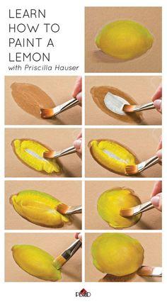Aprender a pintar un limón con Priscilla Hauser! Super fácil paso a pasos #plaidcrafts #DIY: