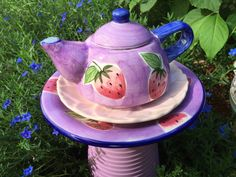 Strawberry Fields Forever Tea Pot Pink and by EmeraldValleyGlass