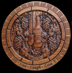carved and hand made cribbage board. The round Live Laugh Love solid oak, hand painted cribbage board will make an excellent gift. Cribbage Board, Carved Wood Signs, Custom Wood Signs, Home Wine Bar, 5 Year Anniversary Gift, Family Name Signs, Personalized Wedding Gifts, Solid Oak, Board Games