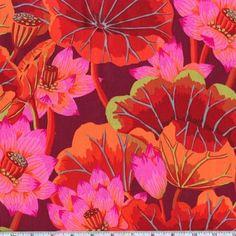 Amazon.com: 45'' Wide Kaffe Fassett Lake Blossoms Red Fabric By The Yard: kaffe_fassett: Arts, Crafts & Sewing
