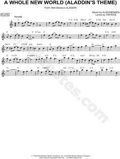 Print and download A Whole New World (Aladdin's Theme) sheet music from Aladdin arranged for Flute or Violin or Oboe or Recorder. Instrumental Solo in C Major.