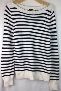 Talbots Sweater Large Womens Boat Neck 100% Cotton  Knit LS Striped Black White  | Clothing, Shoes & Accessories, Women's Clothing, Sweaters | eBay!