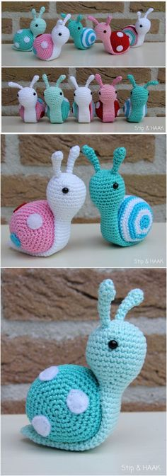 FREE CROCHET PATTERNS: Amigurumi Snails Plus Video Tutorials - realistic to total fantasy, find a free pattern - many easy for beginner crocheters Dragon En Crochet, Crochet Snail, Crochet Hedgehog, Crochet Bee, Crochet Sloth, Crochet Elephant, Crochet Teddy, Free Crochet, Crochet Cats