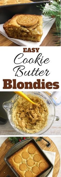 A true Southern style dessert, the Cookie Butter Blondie recipe is a favorite in my kitchen. Everyone loves this dessert! www.southernfamil...