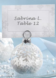 Flocked Glass Snowflake Ornament Placecard Holder (Set of 6) from Wedding Favors Unlimited