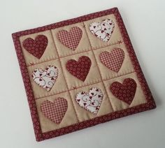 MUG RUG PATTERN Hearts and Stitches Mug Rug by CraftingwLisaMarie