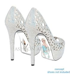 Custom hand painted Snow Queen high heels by AshtonAtelier on Etsy, $65.00
