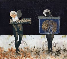 Textile collage in mixed technique, made with eco-dyed textiles, cyanotypes, monotypes and embroidery. 100% cotton textiles. The dialogue between female entities, a raven female and a human female.