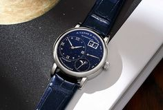 A. Lange & Söhne - Little Lange 1 Moon Phase with dark-blue dial | Time and Watches | The watch blog Blue Gold, Dark Blue, Favre Leuba, Romain Jerome, Apple Watch 1, Watch Blog, Sparkling Stars, Richard Mille, Hand Watch