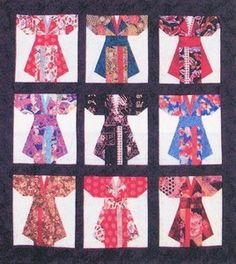 Kimonos Quilt Pattern Wall Hanging Paper Piece Foundation Quilting Asian DIY   eBay