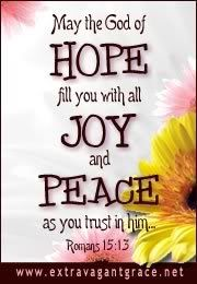 """""""May the God who gives hope fill YOU with all joy and peace by YOUR believing, that YOU may abound in hope with power of holy spirit."""" ~Romans 15:13"""
