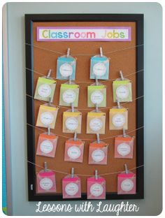 Classroom Job Board. To be located by the classroom entrance.