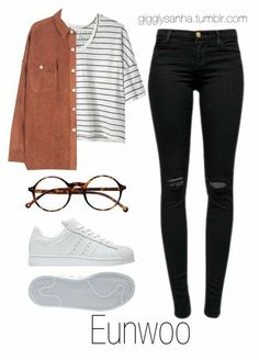kpop fashion A fashion look from May 2016 by suga-infires featuring Alexander Yamaguchi, J Brand, Retr and adidas Kpop Fashion Outfits, Korean Outfits, Cute Comfy Outfits, Stylish Outfits, Teenager Outfits, Girl Outfits, Mode Kpop, Picnic Outfits, Bts Inspired Outfits