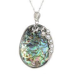 143-539 - Gem Insider® Sterling Silver 54 x 40mm Abalone & Cultured Pearl Pendant w/ Chain
