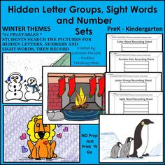 Kiddos search for hidden letter groups, sight words, and number sets that are hiding in the winter-themed pictures. 24 sheets. PreK-Kindergarten http://www.teacherspayteachers.com/Product/Hidden-Letter-Groups-Sight-Words-Number-Sets-Winter-Themes-1565807