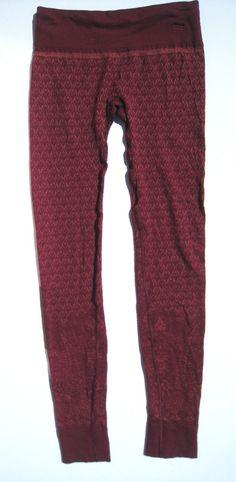 Athleta Diamond Peak Tight Leggings Base Layer Wool Burgundy Ski NEW Small #Athleta #PantsTightsLeggings