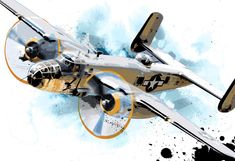 Airplane art of vintage B-25 WWII military Bomber aircraft original Pop Art illustration 13x19.. $50.00, via Etsy.