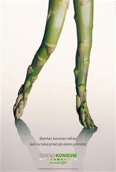 Coop Konsum ad campaign for healthy eating and Fresh produce ad - asparagus Clever Advertising, Print Advertising, Advertising Campaign, Marketing And Advertising, Email Marketing, Ad Design, Graphic Design, Great Ads, Guerilla Marketing