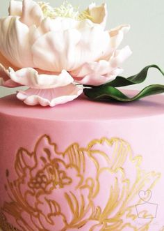 Pink Sugar Peony, gold edible paint over peony stamp impression.