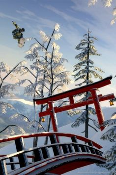 Download Snowboard Bridge Jump Wallpaper For iPhone 4