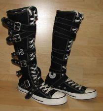 Converse All Star Zipper Buckle Lace Black Boots Mens 8 Womens 10 Knee High
