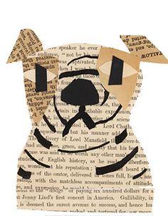 Collage portrait idea; animal portrait.  Bulldog. Denise Fiedler's collage art.