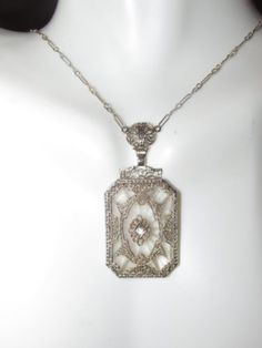 Antique 14k white gold art deco camphor glass necklace with diamond .   Amazing! in Jewelry & Watches, Vintage & Antique Jewelry, Fine, Art Nouveau/Art Deco 1895-1935, Necklaces & Pendants   eBay