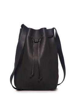 Cenice Black Leather Bucket Bag