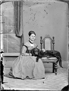 Photograph taken by the studio of William James Harding, Whanganui. Source of descriptive information - Negative register and inscriptions on nega. Williams James, Poor Dog, Old Dogs, Dog Portraits, Pretty Woman, New Zealand, Digger, Women, Antique Photos