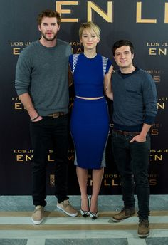 Jennifer Lawrence, Liam Hemsworth, Josh Hutcherson at Madrid Photo Call for The Hunger Games: #CatchingFire